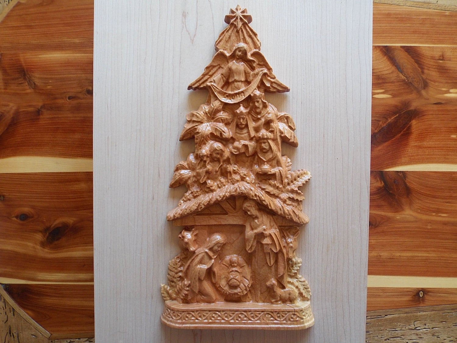 Wood carved nativity christmas tree
