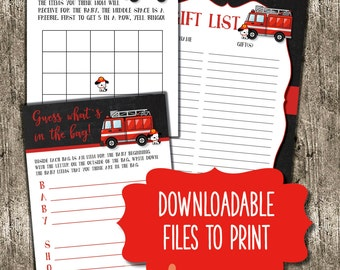 Sound the alarm - firetruck theme baby shower package - downloadable and printable files