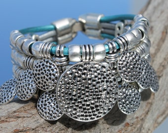 wide light blue  leather Bracelet with metal beads