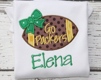Girl Monogrammed Football Onesie/ Shirt, Bears Football Shirt, Packers Monogrammed Shirt, Green Bay Onesie