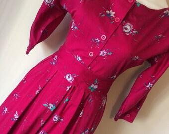 Vintage Laura Ashley Floral Print Dress With Belt