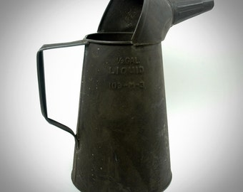 Vintage Collectible Half Gallon Oil Can with Spout