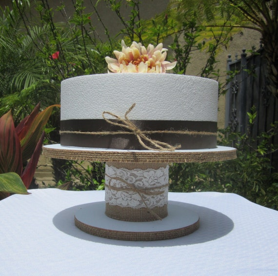 12 Round Or Square Cake Cupcake Stand Burlap With White
