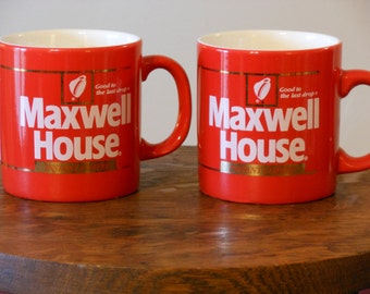 Classic Red Maxwell House Coffee Mugs