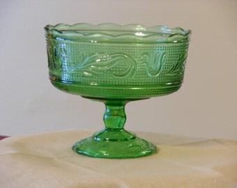 E.O. Brody M6000 Green Glass Compote