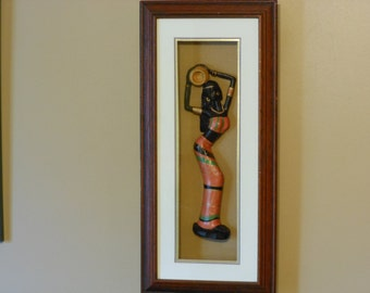 Carved Wooden Figure of an African Woman in Shadow Box