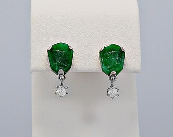 Vintage Jade, Diamond & Palladium Dangle Earrings - J35456