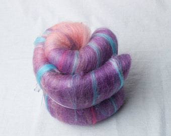 Mini Gradient Batt from Pink to purple, suitable for spinning (#160050)