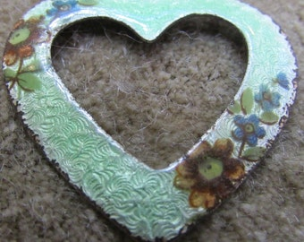 Vintage  Green Guilloche Enamel Open Heart Pendant Necklace  Valentine wedding bridal  pendant