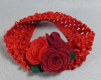 Baby Girl Headband - Red Felt Flower Headband, Elastic Stretchy Headband, Baby Headband, Infant Headband, Womens Headband