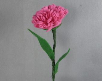 Pink Felt Carnation Stem - Artificial Flower - Fake Flower - Felt Flower - Felt Carnation - Fake Carnation - Artificial Carnation