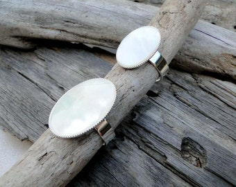 """Mother of Pearl """"Pearly Queen"""" Statement Rings"""