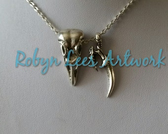 Silver Raven Crow Bird Skull Necklace with Claw Talon on Silver Crossed Chain or Black Faux Suede Cord