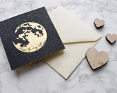 Valentines Card / Gold Foil Card / Game of Thrones Valentine / Card for Boyfriend / Girlfriend Card / Moon of My Life / Anniversary Print