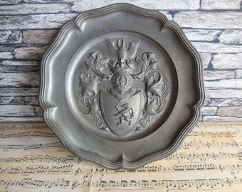 Vintage pewter plaque