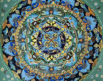 "Mandala ""lives in continuity"" original painting, 35 x 35 cm. painting, acrylics, bronze on paper"