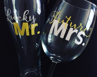 Engagement Glasses (set of two lucky Mr. & future Mrs.)