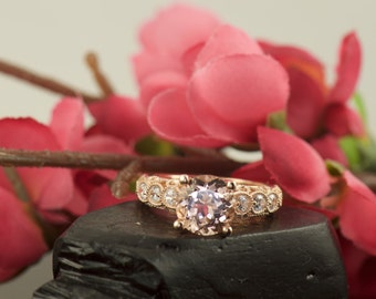 2ct Morganite and Diamond Engagement Ring in Rose Gold, Art Nouveau Style with Stunning Filigree and Beaded Milgrain, Euro Shank, Fatima