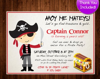 Pirate Birthday Invitation, Boys Birthday Invitation, Pirate Invitation, Pirate Birthday, Printable Pirate FREE Thank You