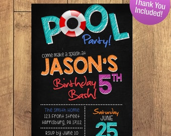 Pool Party Birthday Party Boy Girl Invitation FREE THANK YOU