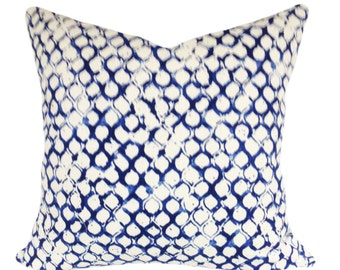 John Robshaw for Duralee Sata Lapis Fabric for Decorative Pillow Covers Handmade by Pillow Time Girls - Throw Pillow - Both Sides