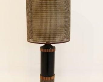 Mid Century Modern Groovewood Table Lamp Vintage