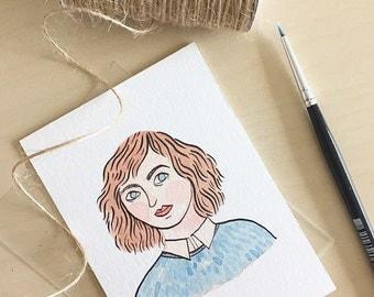 Small original artwork watercolour  portrait