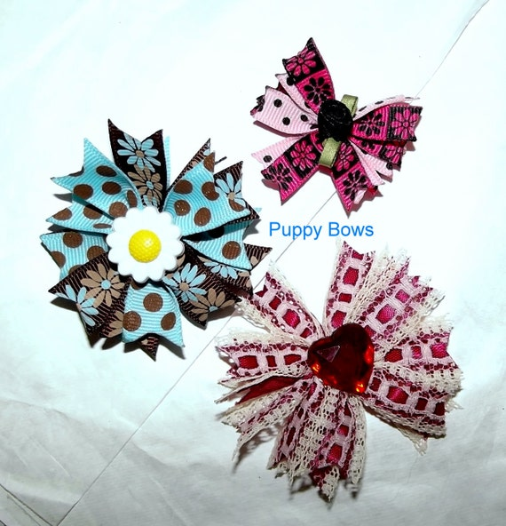 Puppy Bows ~Barrette or bands BLUE CHOCOLATE round Red lace bow dog grooming ~USA seller