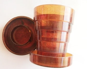 Vintage  Travel Cup / Collapsing Cup / Gold Tone Items / Pill Box / Tortoise Shell Items / Bath Cup / Collapsible Cup / Gold Tone Cup