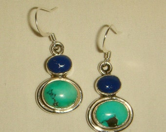 Turquoise & Lapis Earrings Sterling Silver inv1586