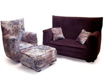 Barbie Doll Living Room Furniture 5-PC Play Set -1:6 scale-Brown w/ Blue/Brown paisley print-works with any Blythe and 11 inch fashion doll