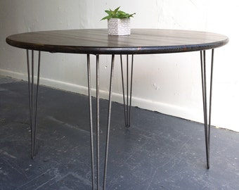 "36"" round kitchen table with steel hairpin legs"