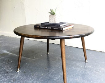 "36"" round mid century modern inspired  coffee table"