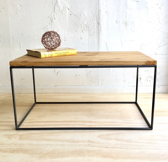 Industrial Chic Coffee Table: Industrial Chic Coffee Table With Handcrafted Steel Cube Base