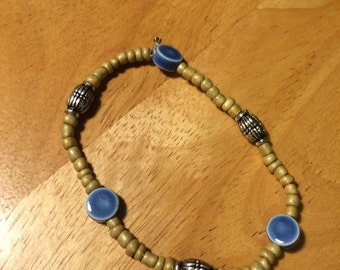 Blue Beads with sand color