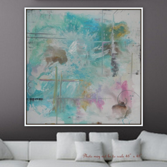 Extra Large Abstract Painting Modern  XL Large  Abstract Painting wall art home decor Modern colors wall art large decor blue pink clouds