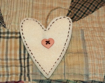Felt Heart Ornament - Cream