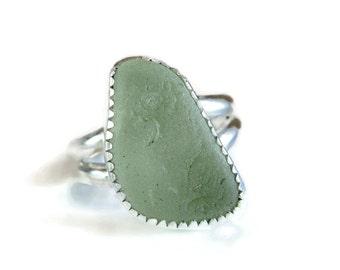 Sea Foam Green Sea Glass Ring - Size 7