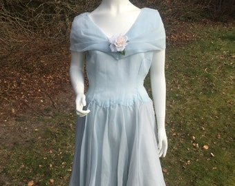 "1950s baby blue chiffon dress with corsage (40"" bust 28"" waist)"