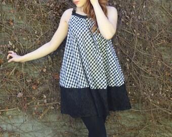 B&W Plaid Mod Dress
