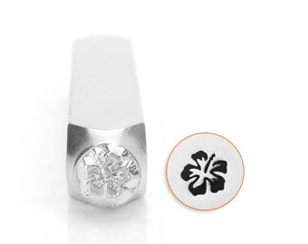 Hibiscus Metal Stamp, ImpressArt Design Stamp, 6mm Flower Stamp, Hawaiian Aloha Stamp,