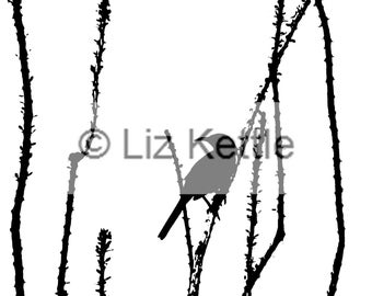 Bird on a Cactus- Thermofax Screen for Instant Screen Printing