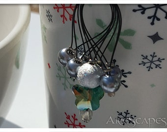 Stitch Markers - Grey Silver Pearls