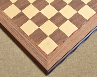 """Deluxe Walnut Maple Wooden Chess Board Matte Finish with Moulded edges 22"""" - 55 mm. SKU: B1013"""