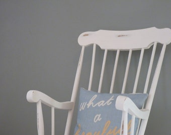 Made to order-Vintage hand-painted white rocking chair, nursing chair, nursery,Upcycled, retro,shabby-chic,bespoke.