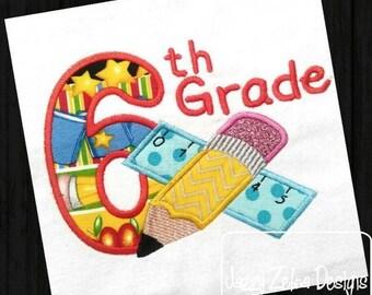 6th Grade Pencil and Ruler Appliqué Embroidery Design