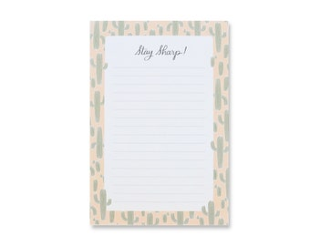 Stay Sharp Cactus Notepad // Cactus Notepad // Daily Jotter // To-Do List // Cactus Print