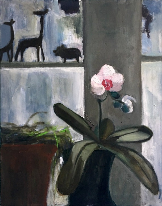 """Original Oil Painting: White Orchid, 20"""" x 24"""""""