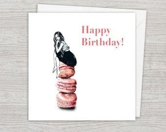 Miss Macaroon Fashion Illustration Birthday Card