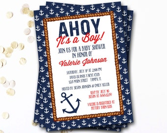 Nautical Baby Shower Invitation, Navy And Red Nautical Invitation, Preppy Baby Shower Invitation, Anchor Invitation, DIY Printable